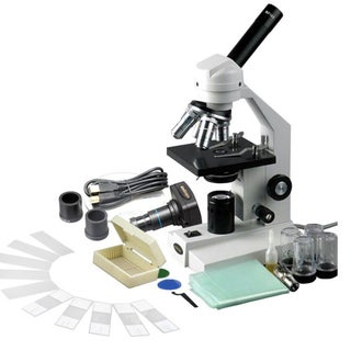 40X-2500X Advanced Compound Microscope with USB Digital Camera and 10 piece Slide Kit