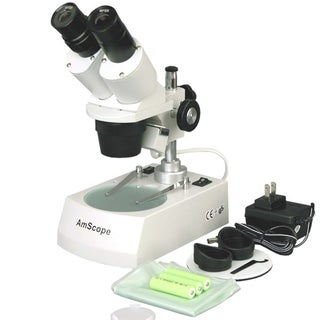 10X-30X LED Cordless Stereo Microscope with Top and Bottom Light illumination System