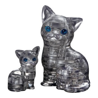 3D Crystal Cat and Kitten Black 49-piece Puzzle