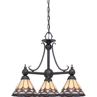 Cambridge 3-Light Espresso Finish Chandelier With Tiffany-style Shades
