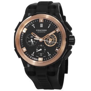 Concord Men's 0320140 'C2 Chronographe' Black Dial Black Rubber Strap Rose Gold Automatic Watch