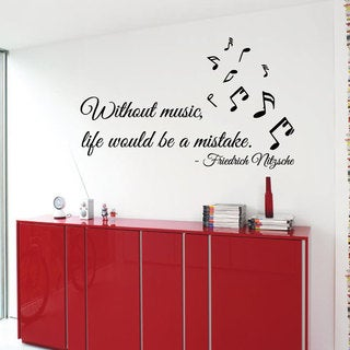 Nitzsche Quote Without Music Life Would Be A Mistake Sticker Vinyl Wall Art