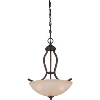 Cambridge 3-Light Bronze Finish Pendant With A Beige Shade