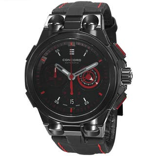 Concord Men's 0320187 'C2' Back Dial Black Leather Strap Chronograph Automatic Watch https://ak1.ostkcdn.com/images/products/10021449/P17168475.jpg?impolicy=medium