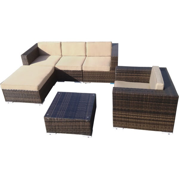 The Hom Aria 4 Piece Brown Wicker Patio Set   Free Shipping Today    Overstock.com   17168473