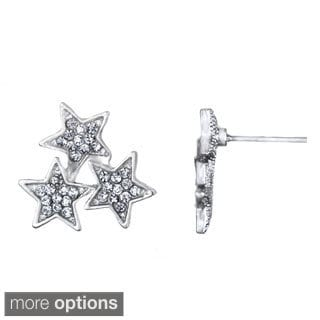 Alloy White Rhinestone Star Cluster Stud Earrings