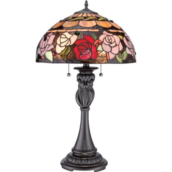 Cambridge 2 Light Vintage Bronze Finish Table Lamp With A Red And Pink Rose Tiffany Style Shade Free Shipping Today 10021480