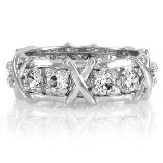 Sterling Silver Wrapped Cubic Zirconia Eternity Band