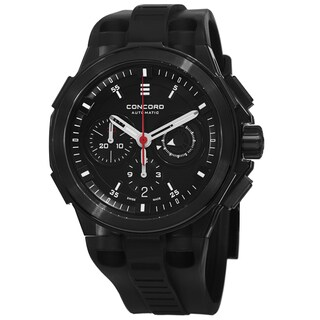 Concord Men's 'C2 Chronographe' Black Dial Black Rubber Strap Automatic Watch