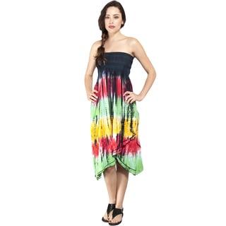 Handmade Rasta Tie-dye Layered Ruffles Strapless Dress (Indonesia)