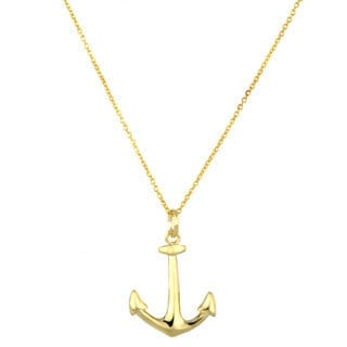 Goldtone Sterling Silver Anchor Charm Necklace