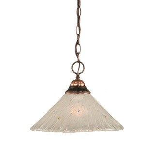 Cambridge 1-Light Black Copper 9.5 in. Pendant with Frosted Crystal Glass