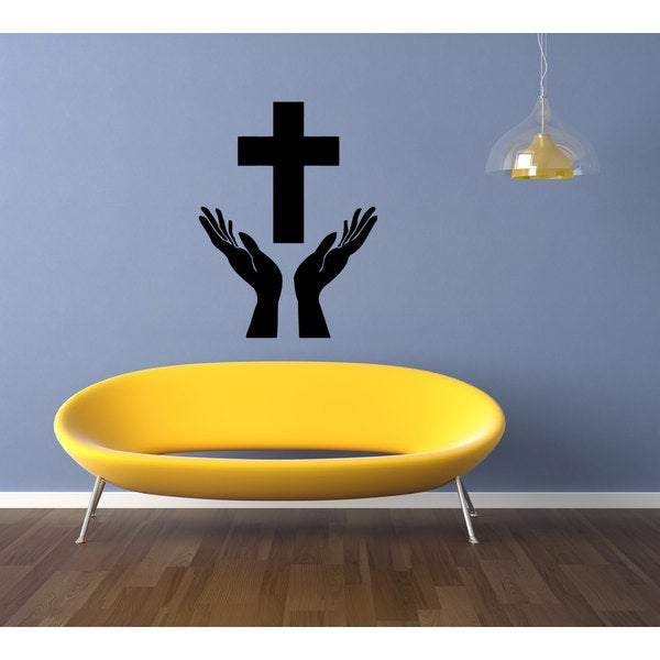 Prayer Hands Holly Bible Sticker Vinyl Wall Art