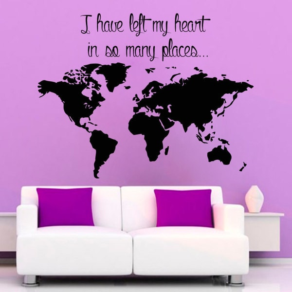 World Map Sticker Vinyl Wall Art