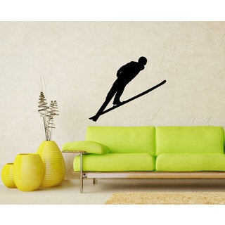 Nordic Ski Jumper Flying Sticker Vinyl Wall Art