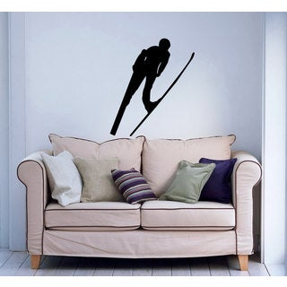 Flying Nordic Ski Jumper Sticker Vinyl Wall Art