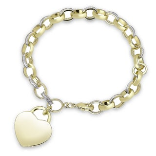 Finesque Gold Overlay Diamond Accent Heart Charm Bracelet