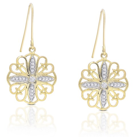 Finesque Gold Overlay Diamond Accent Filigree Dangle Earrings