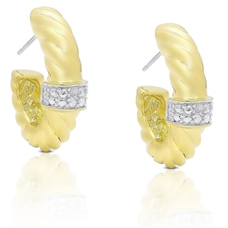Finesque Gold Overlay Diamond Accent Half Hoop Earrings