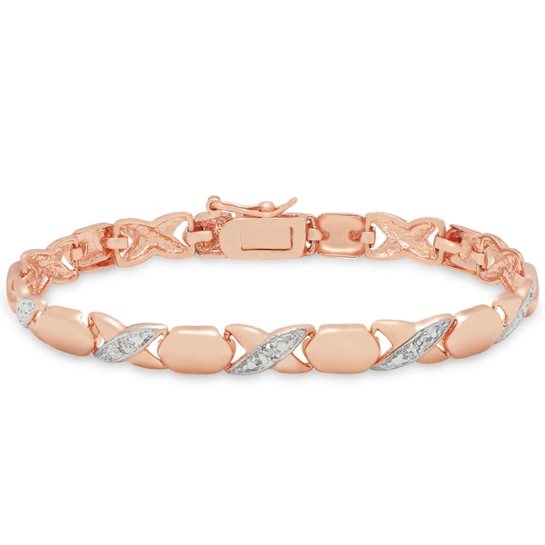 Finesque Rose Gold Overlay Diamond Accent 'XO' Bracelet