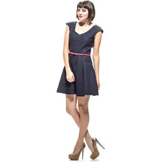 Amelia Women's Blue Denim A-line Sleeveless Dress