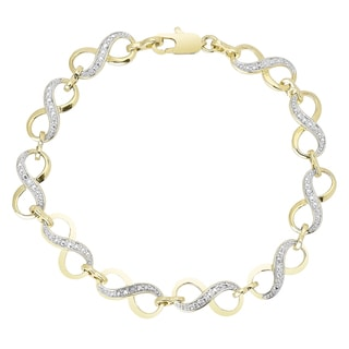 Finesque Gold Overlay Diamond Accent Infinity Link Bracelet