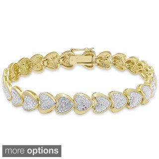 Finesque Gold Overlay Diamond Accent Sideways Heart Link Bracelet