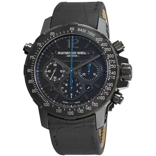 Raymond Weil Men's 7810-BSF-05207 'Nabucco Rivoluzione' Chronograph Automatic Black Leather Watch