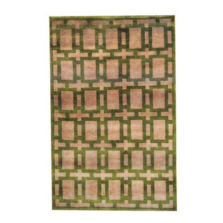 Herat Oriental Indo Hand-knotted Tribal Tibetan Pink/ Green Wool Rug (5'1 x 8')