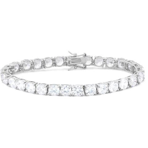 Gioelli Sterling Silver 6mm Round-Cut Cubic Zirconia Tennis Bracelet