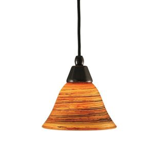 Cambridge 1-light Black Copper 7.5-inch Pendant with Saturn Fire Glass