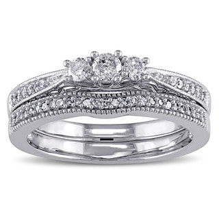 Miadora 10k White Gold 1/3ct TDW Diamond 3-stone Bridal Ring Set