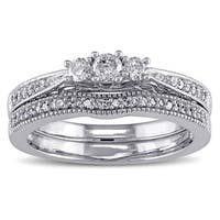 Miadora 10k White Gold 1/3ct TDW Diamond 3-stone Bridal Ring Set