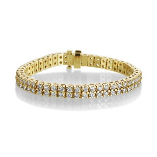 SummerRose 14k Yellow Gold 10ct TDW Diamond 2-row Tennis Bracelet