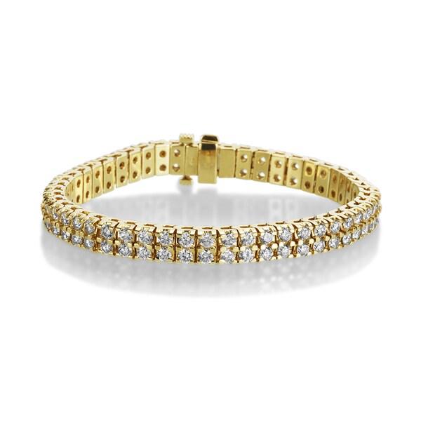 2e7a8245ccf Shop SummerRose 14k Yellow Gold 10ct TDW 2-row Diamond Tennis ...