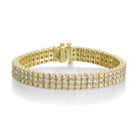 SummerRose 14k Yellow Gold 10ct 3-row Diamond Tennis Bracelet