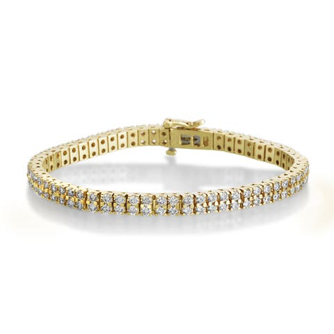SummerRose 14k Yellow Gold 5ct TDW 2-row Diamond Tennis Bracelet