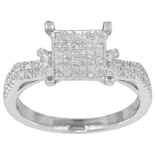 Sterling Silver 1/3ct TDW Diamond Pave-set Fashion Engagement Ring