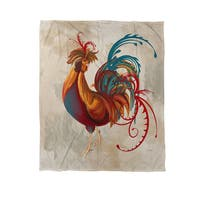 Teal Rooster II Coral Fleece Throw