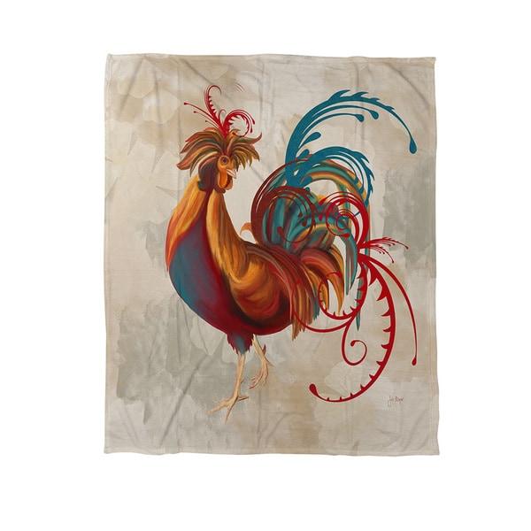 Teal Rooster II Coral Fleece Throw