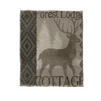 Winter Lodge Deer Coral Fleece Throw