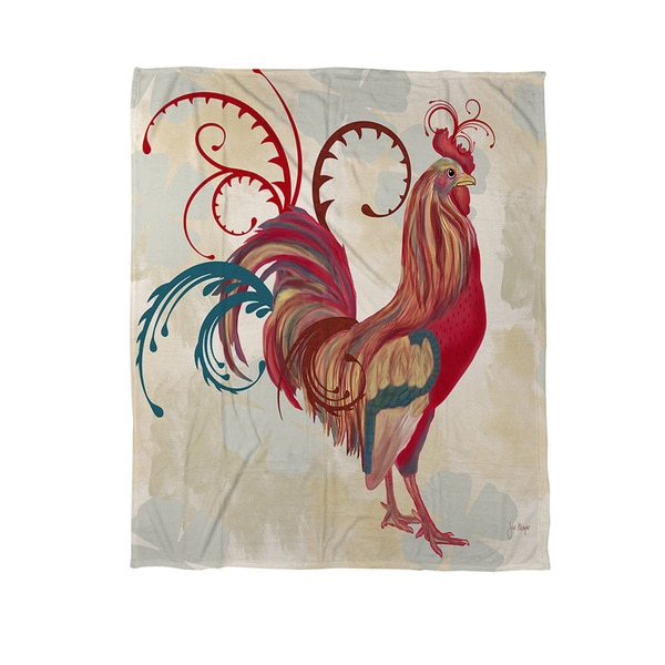Teal Rooster I Coral Fleece Throw