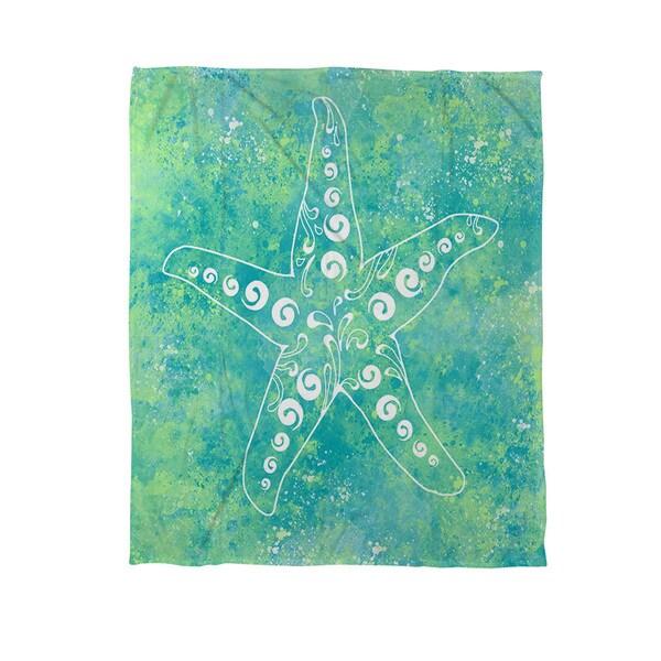 Sponge Paint Starfish Coral Fleece Throw