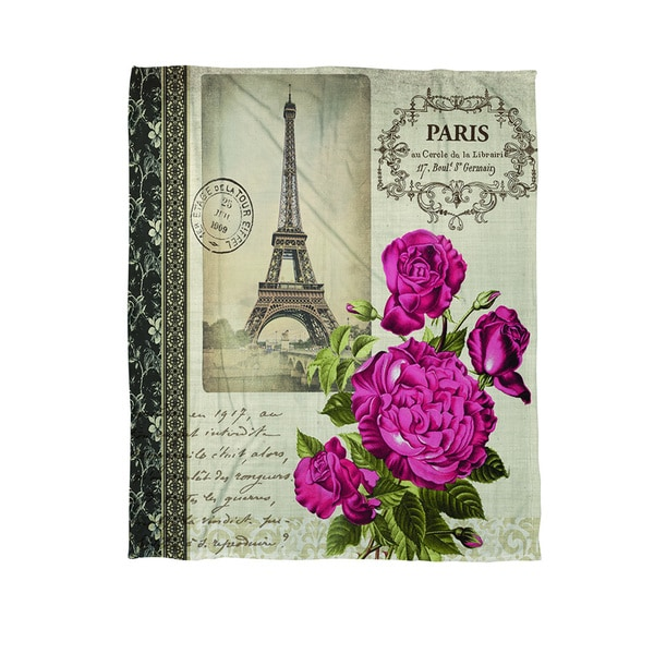 Springtime in Paris All Roses Coral Fleece Throw