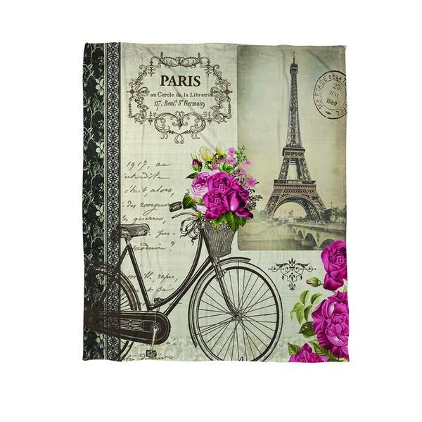 Springtime in Paris Bicycle Coral Fleece Throw