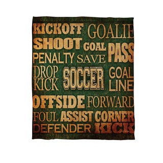Soccer Words Coral Fleece Throw