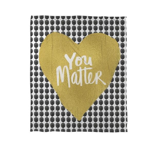 You Matter Heart Coral Fleece Throw