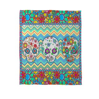 Sugar Skull Chevron Box Coral Fleece Throw