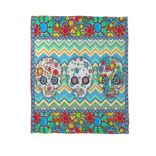 Thumbprintz Sugar Skull Chevron Box  Coral Fleece Throw