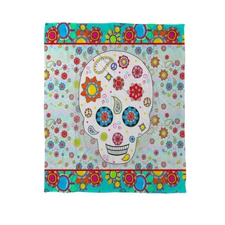 Sugar Skull Colored Box Coral Fleece Throw